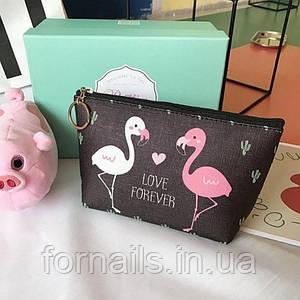 Косметичка Cute Flamingo Love Forever Два фламинго Черная