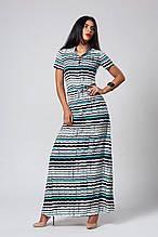 Красивое и стильное летнее легкое платье в пол в полоску 42-46
