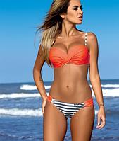 Яркий женский раздельный купальник оранжевого цвета