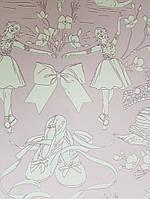 Обои бумажные YORK  KI0502 A Perfect World детские молодежные балерины короны цветы сердечки сиреневые, фото 1
