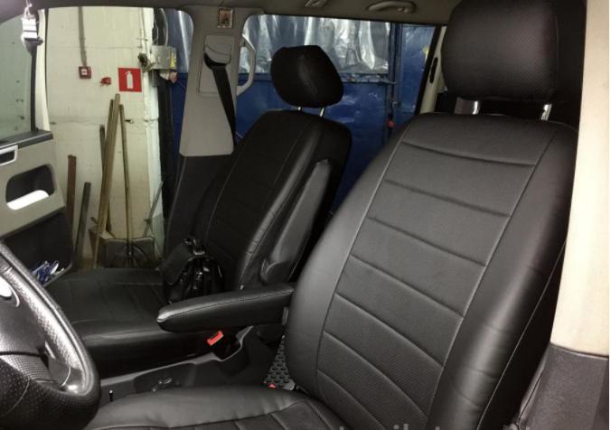Чехлы на сиденья Фольксваген Кадди (Volkswagen Caddy) (1+1, универсальные, экокожа, пилот)