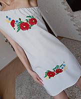 Платье-вышиванка с открытым плечом - лен, 42 размер