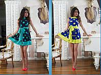 Платье горохи два цвета № 463  аи