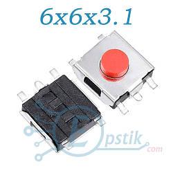 Кнопка тактовая, 6x6x3.1мм. 5pin