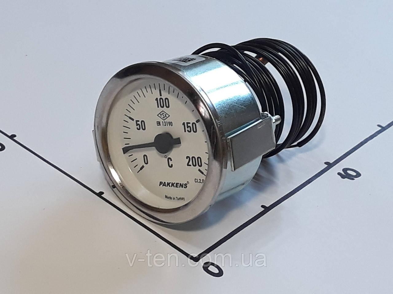 Термометр капиллярный Ø60мм / 200°С / L-200 cм PAKKENS (Турция)
