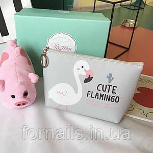 Косметичка Cute Flamingo Серая