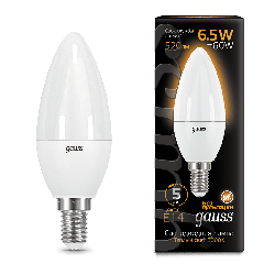 Лампа Gauss LED Candle E14 6.5W 3000К