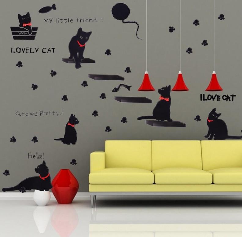 """Наклейка на стену """"I love cat"""", цвет черный"""