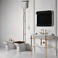 Унитаз с бачком на трубе и деревянным сиденьем бронза Kerasan Waldorf 4116