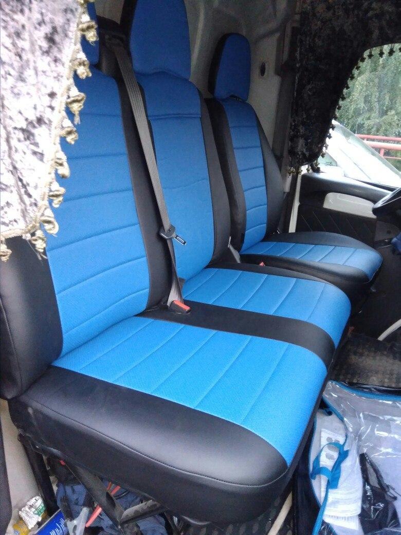Чехлы на Фольксваген Крафтер (Volkswagen Crafter) 1+2  (универсальные, кожзам+автоткань, отд. подголовником)