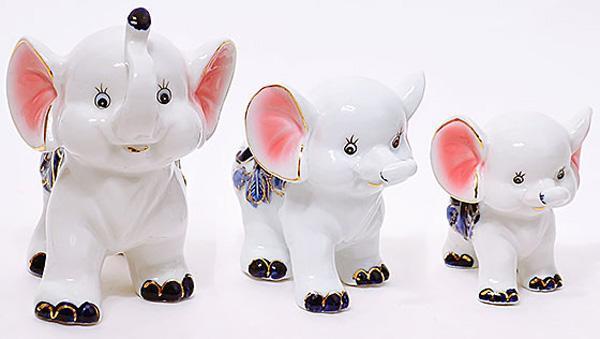 """Набор 3 фарфоровые декоративные статуэтки """"Слоники"""" 14см, 10см, 8см"""