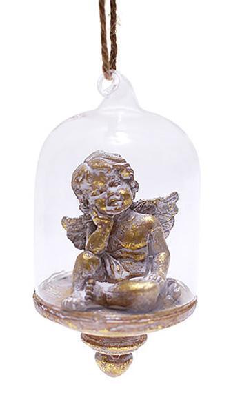 """Статуэтка подвесная """"Ангел"""" под стеклянным куполом 10см"""
