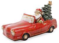 """Декор новогодний """"Санта в машине"""" 35х15х18.5см фарфор с LED-подсветкой, фото 1"""