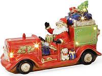 """Декор новогодний """"Санта в машине"""" 39х14х16см фарфор с LED-подсветкой"""