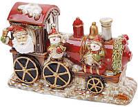 """Декор новогодний """"Санта в поезде"""" 31.5х12х20.5см фарфор с LED-подсветкой, фото 1"""