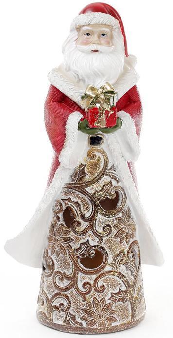 "Статуэтка декоративная ""Санта с подарком"" 25.5см с LED-подсветкой"