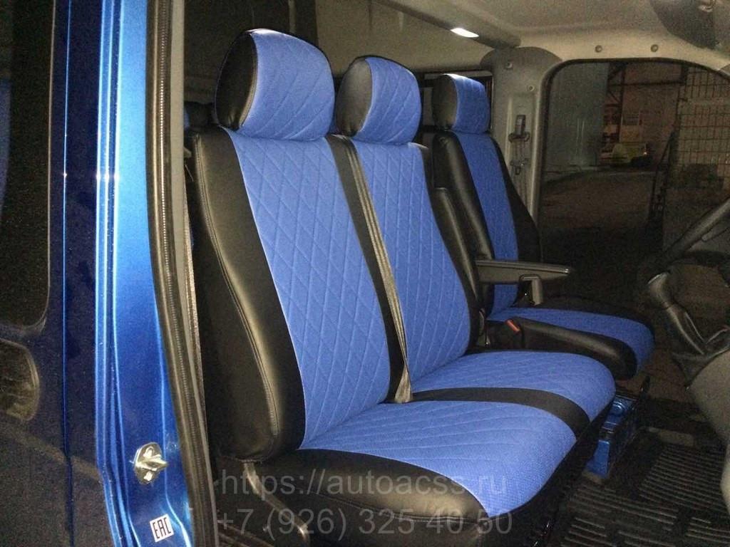 Чехлы на сиденья Рено Трафик (Renault Trafic) 1+2 (модельные, экокожа+Алькантара, отдельный подголовник)