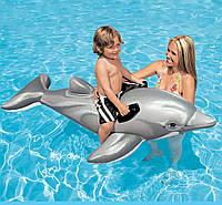 Плотик Дельфин для детей от 3 лет. Детский надувной, водный плот, матрас Интекс для плавания с ручками