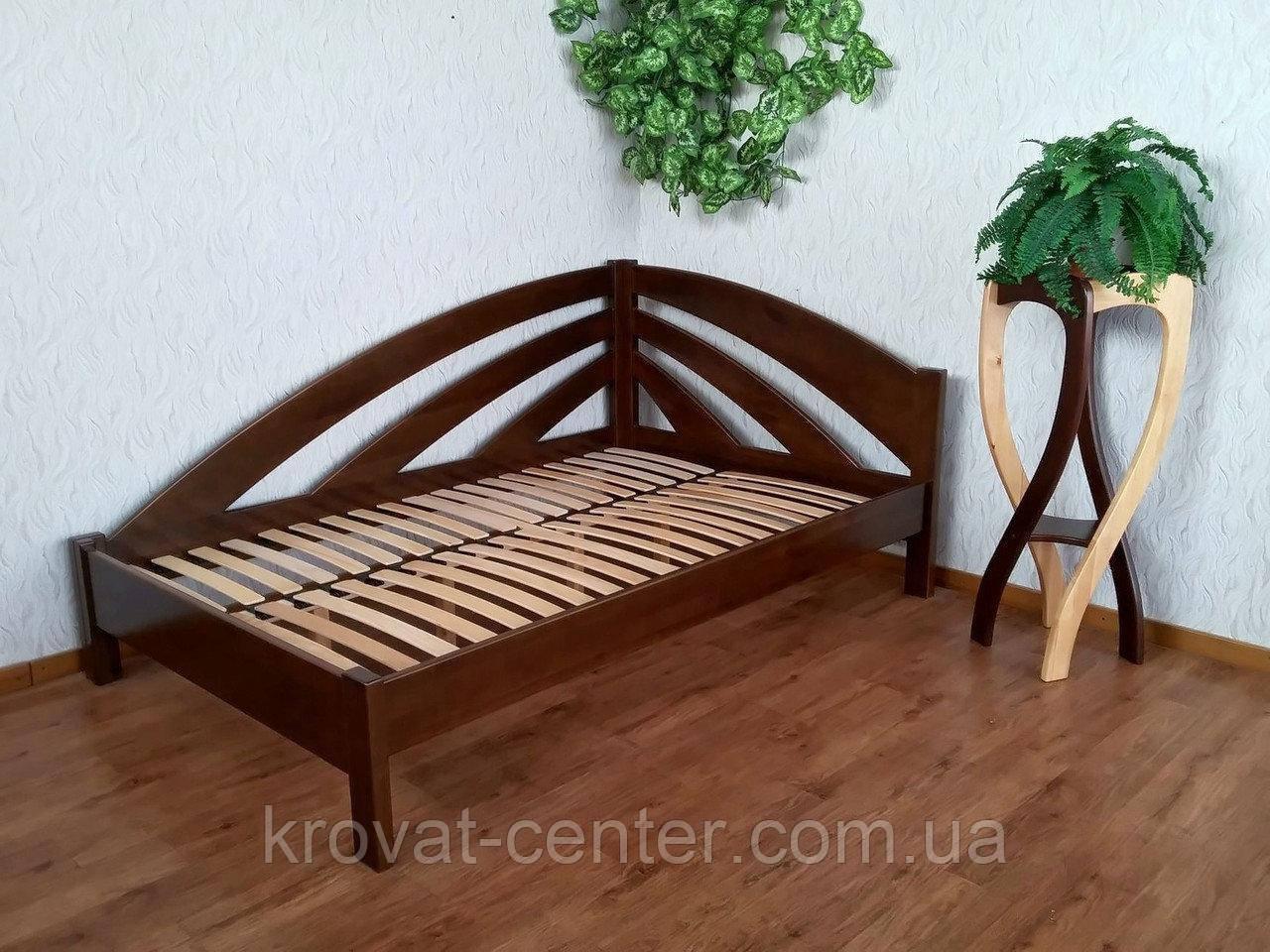 """Кутова полуторне ліжко з масиву натурального дерева """"Веселка"""" від виробника"""