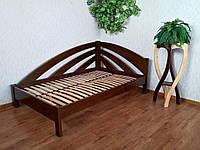 """Угловая полуторная кровать из массива натурального дерева """"Радуга"""""""