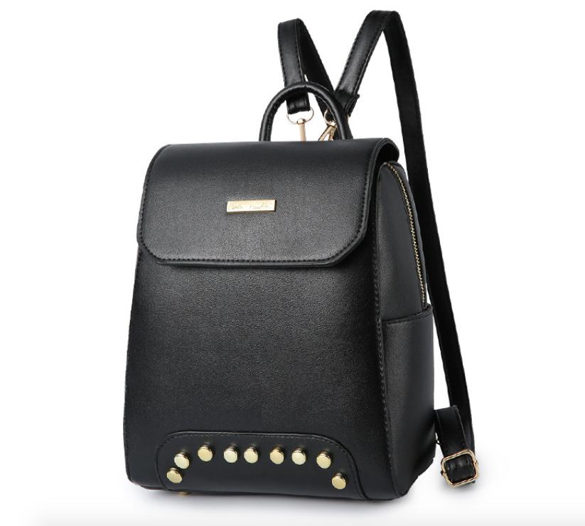 Рюкзак женский кожзам с заклепками Style Черный
