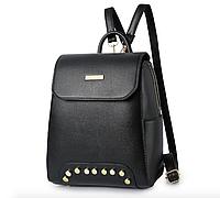 Рюкзак женский кожзам с заклепками Style Черный, фото 1