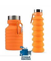 Складная силиконовая бутылка с карабином LUX Bottle
