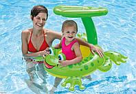Плотик Лягушка для детей 1-2 годика. Детский надувной, водный плот, матрас Интекс для плавания с ручками