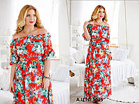 Платье летнее шифоновое с цветочным рисунком в батальных размерах  1015, фото 1