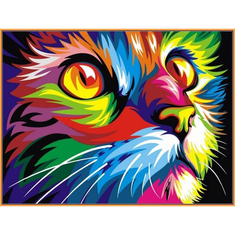 """Алмазная вышивка 40х50 см - на подрамнике (в раме) набор """"Радужный котенок"""""""