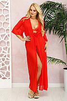 Стильная женская туника для пляжа  из шифона  красная с 50 до 56 размер, фото 3