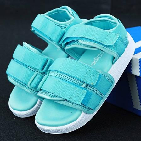 Женские трендовые сандалии\босоножки в стиле Adidas Adilette Sandal Mint Бирюзовые, фото 2