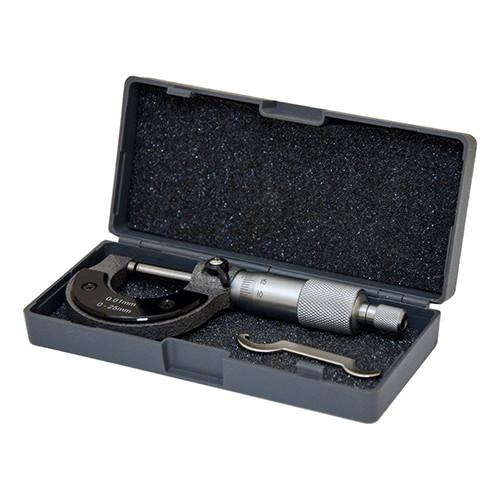 Механический микрометр в футляре, Диапазон измерений: 0-25 мм Точность измерения: 0,01 мм