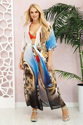 Красивая  длинная пляжная туника из шифона  с принтом Лео с 42 по 48 размер, фото 2