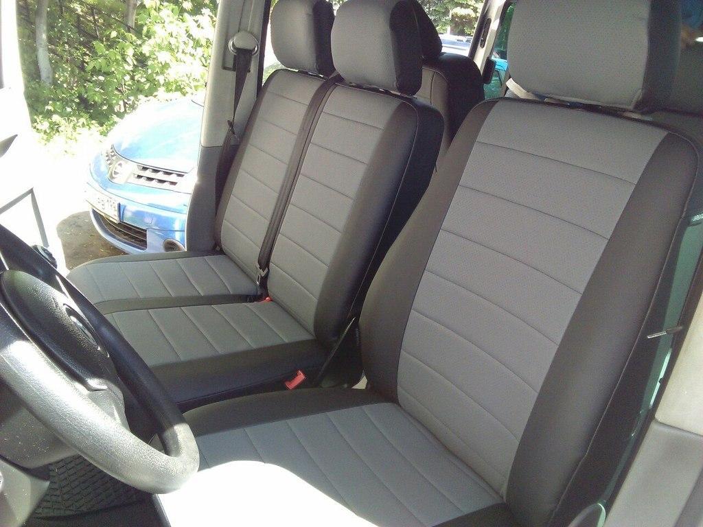 Чехлы на сиденья Фиат Дукато (Fiat Ducato) 1+2  (модельные, экокожа+Алькантара, отдельный подголовник)
