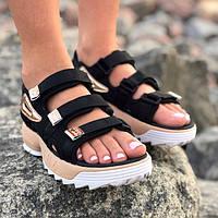 d7694c870b94a Женские сандалии\босоножки в стиле Fila Disruptor Sandals Black Gold