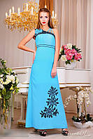 Вечернее голубое Платье в пол 0867