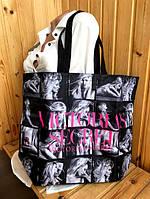 Сумка большая пляжная женская черная Victoria's Secret 1758, фото 1