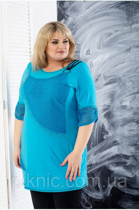Туника Джейн 58-60, 62-64, 66-68 больших размеров. Женская одежда батальная, батал. Бирюза
