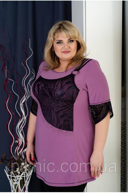 Туника Джейн 58-60, 62-64, 66-68 больших размеров. Женская одежда батальная, батал. Пудра