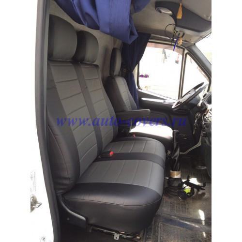 Чехлы на сиденья Пежо Эксперт Ван (Peugeot Expert Van) 1+2  (универсальные, кожзам, пилот СПОРТ)