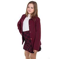Школьный бордовый, черный пиджак для девочки