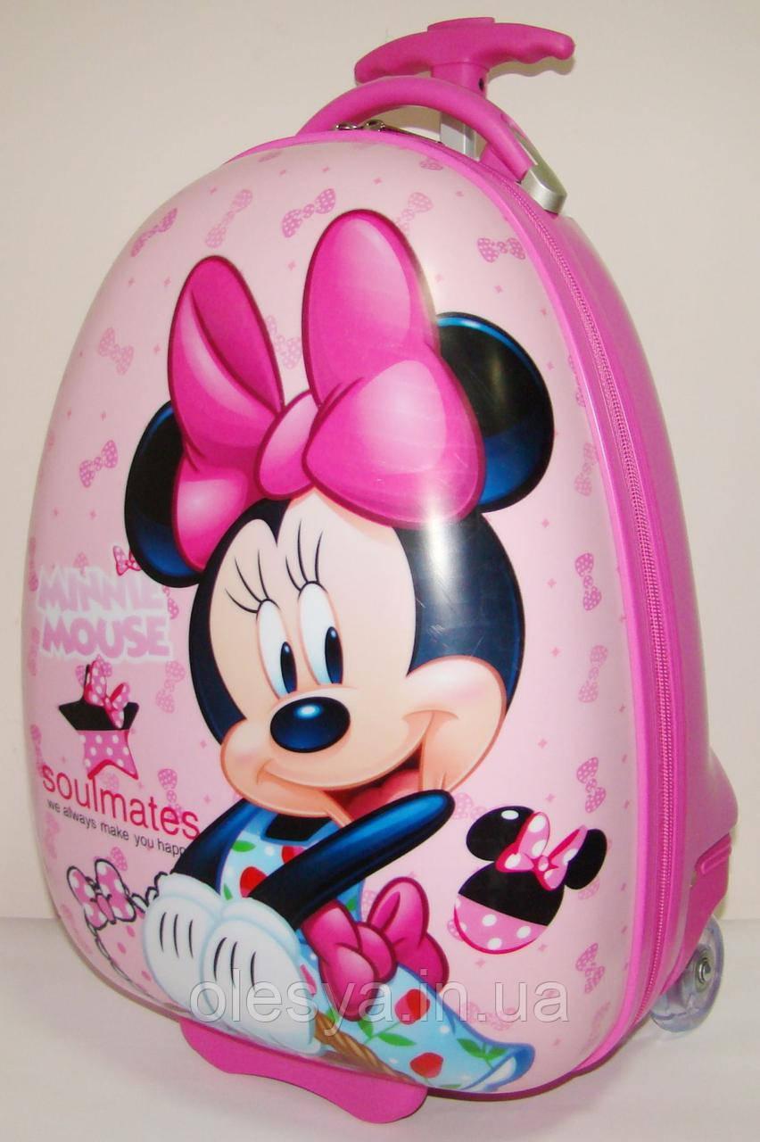 """Детский пластиковый чемодан на колесах """"Минни"""" 47*31*25,5 см"""