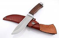 Нож охотничий с рукоятью из дерева Венге с кожаным чехлом + эксклюзивные фото
