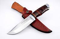 Нож охотничий с рукоятью из наборной кожи с кожаным чехлом + эксклюзивные фото