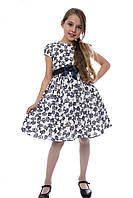Платье детское летнее хлопок черно белое с узором