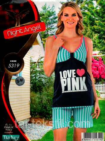 Пижама майка с шортами качество лайкра Night Аngel № 5319, фото 2