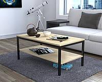 Журнальний стіл у вітальню L-1 Loft Design Чорний Матовий / Дуб Борас