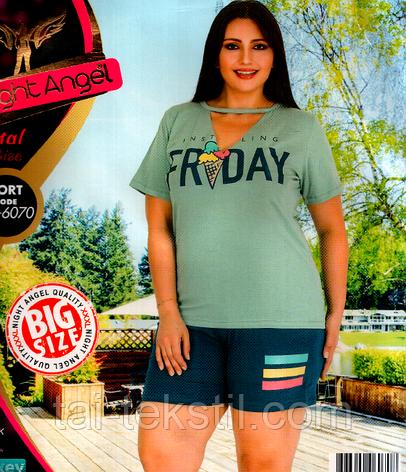 Домашний комплект майка и шорты большого размера 6070, фото 2