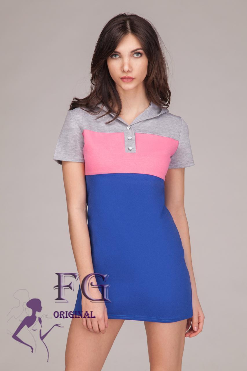 """Платье с капюшоном """"Trio look"""" - распродажа модели 46, синий"""